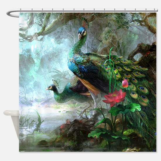 Beautiful Peacock Painting Shower Curtain