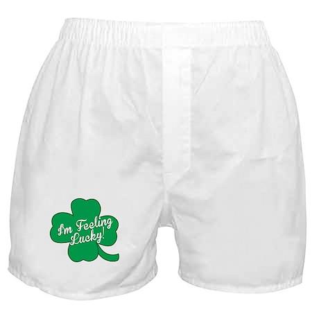 Feeling Lucky St. Patricks Day Clover Boxer Shorts