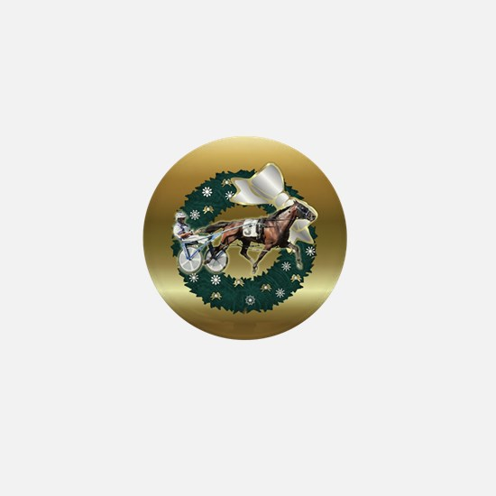 Harness Racer Gold Xmas Mini Button