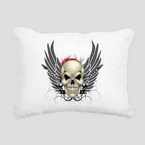 Skull, guitars, and wings Rectangular Canvas Pillo