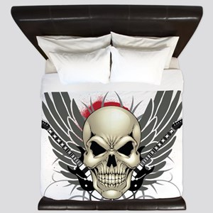 Skull, guitars, and wings King Duvet