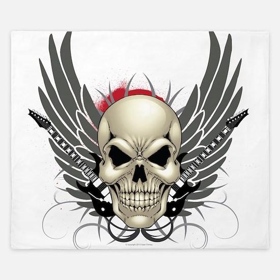 Skull, guitars, and wings King Duvet