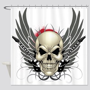 Skull, guitars, and wings Shower Curtain