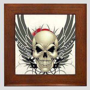 Skull, guitars, and wings Framed Tile