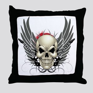 Skull, guitars, and wings Throw Pillow