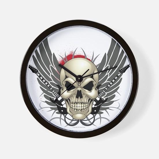 Skull, guitars, and wings Wall Clock