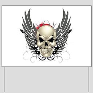 Skull, guitars, and wings Yard Sign