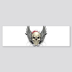 Skull, guitars, and wings Bumper Sticker