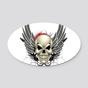 Skull, guitars, and wings Oval Car Magnet
