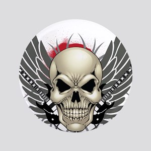 """Skull, guitars, and wings 3.5"""" Button"""