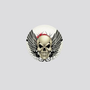 Skull, guitars, and wings Mini Button