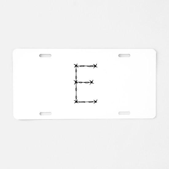 Barbed Wire Monogram E Aluminum License Plate