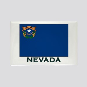 Nevada Flag Gear Rectangle Magnet