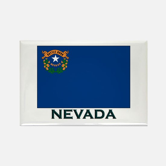 Nevada Flag Gear Rectangle Magnet