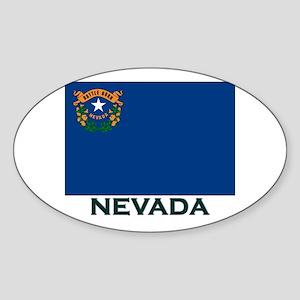 Nevada Flag Gear Oval Sticker