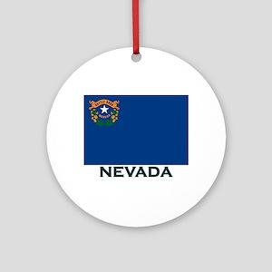 Nevada Flag Gear Ornament (Round)