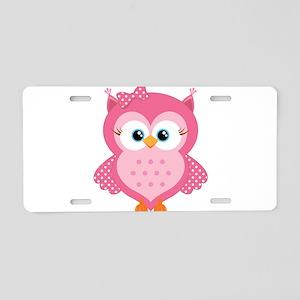 Sweet Pink Cartoon Owl Aluminum License Plate