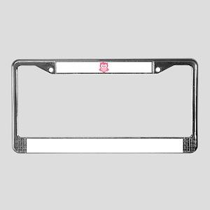 Sweet Pink Cartoon Owl License Plate Frame