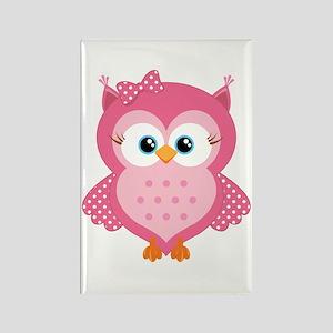 Sweet Pink Cartoon Owl Rectangle Magnet