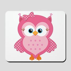 Sweet Pink Cartoon Owl Mousepad