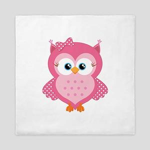 Sweet Pink Cartoon Owl Queen Duvet