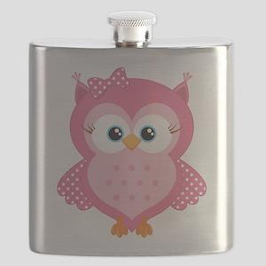 Sweet Pink Cartoon Owl Flask