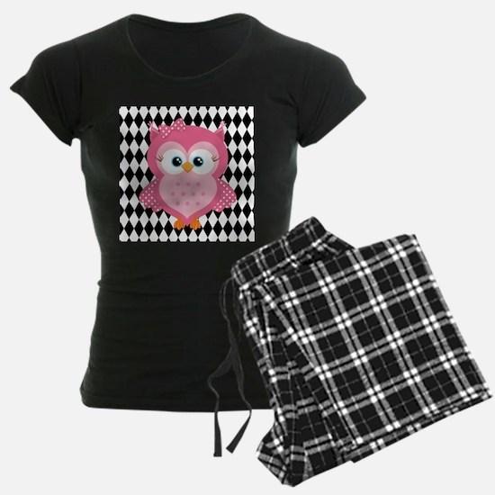 Cute Pink Owl on White and Black Pajamas