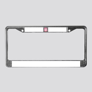 Cute Pink Owl on White and Black License Plate Fra