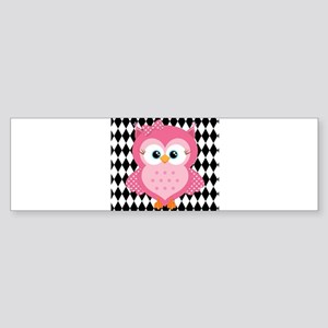 Cute Pink Owl on White and Black Bumper Sticker
