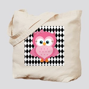 Cute Pink Owl on White and Black Tote Bag