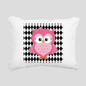 Cute Pink Owl on White and Black Rectangular Canva