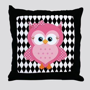 Cute Pink Owl on White and Black Throw Pillow