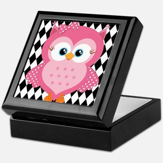 Cute Pink Owl on White and Black Keepsake Box