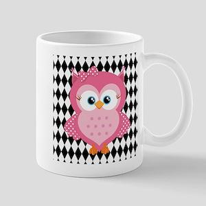 Cute Pink Owl on White and Black Mug