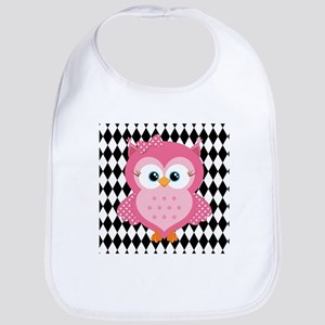 Cute Pink Owl on White and Black Bib