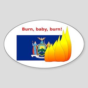 New York State Flag Burn Sticker