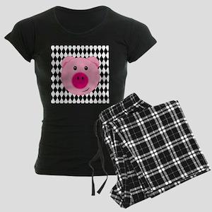 Cute Pink Pig on Retro Diamond Background Pajamas