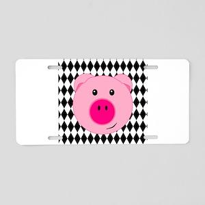 Cute Pink Pig on Retro Diamond Background Aluminum