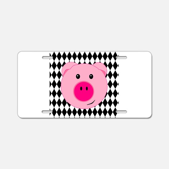 Cute Pink Pig on Retro Diamond Background Aluminum