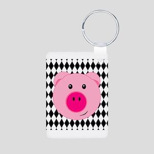 Cute Pink Pig on Retro Diamond Background Keychain