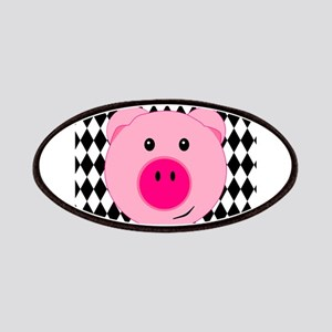 Cute Pink Pig on Retro Diamond Background Patches