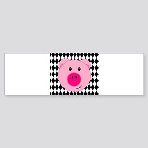Cute Pink Pig on Retro Diamond Background Bumper S