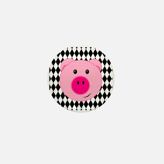 Cute Pink Pig on Retro Diamond Background Mini But