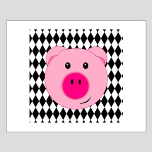 Cute Pink Pig on Retro Diamond Background Posters