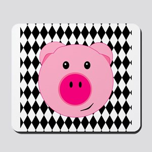 Cute Pink Pig on Retro Diamond Background Mousepad