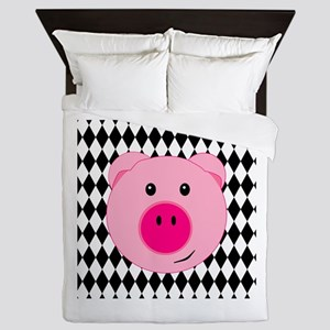Cute Pink Pig on Retro Diamond Background Queen Du