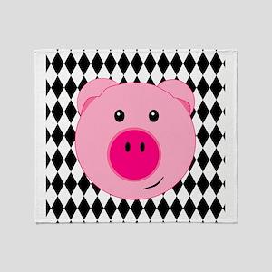 Cute Pink Pig on Retro Diamond Background Stadium