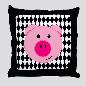 Cute Pink Pig on Retro Diamond Background Throw Pi