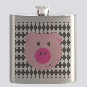 Cute Pink Pig on Retro Diamond Background Flask