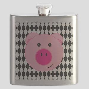 Cute Pink Pig on Retro Diamond Background Flask